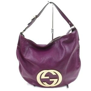 💯 Auth Gucci  Purple Leather Shoulder Bag